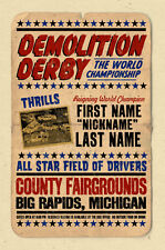 YOUR NAME on Demolition Derby poster Personalized