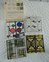 Frank Lloyd Wright Illinois Houses Art Glass Designs Coasters Set of 4