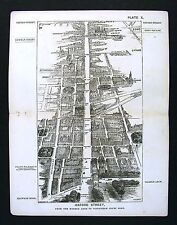 1886 London Bird's Eye View Map - Oxford Street Marble Arch to Tottenham Ct Soho