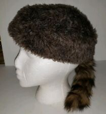 COONSKIN brown faux Fur Hat RaCoon Tail UT Vols VOLUNTEERS