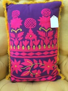 New Modelli Vintage Style Embroidered Floral Fringe Pillow BOHO Anthro $75