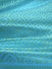 "Traditional Thai Silk Damask Fabric for Thai-Laos Skirt 40""x80"" -Turquoise Blue"