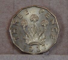 """1937  George VI Threepence Brass alloy """" Thrupenny bit """" Uncirculated"""
