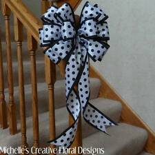 "10"" WIDE WIRED EDGE BOW~WHITE WITH BLACK POLKA DOTS~CRAFTS~WREATHS~GIFTS~PARTY"