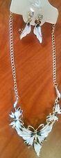 Necklace & Earrings Set Alloy Enamel Butterfly Pendant Bib Statement Whit
