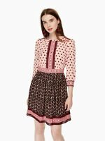 NEW KATE SPADE New York Pink Red Dot Floral Tile Graphic A-Line Zip Dress 12 US