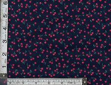 PATCHWORK/QUILTING/CRAFT FABRIC FAT QTR TINY PINK CHERRIES ON NAVY  100% COTTON