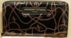 NEWWT WOMENS ADRIENNE VITTADINI ZIP AROUND GOLD CHAIN WALLET BLACK PATENT  RFID