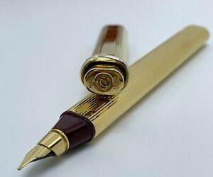 Vintage Cartier Must De Vendome Oval Trinity Gold Fountain Pen 18K Gold Nib