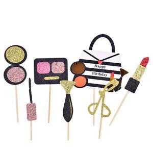 1 Set Lipsticks & Eyeshadow Box Cake Toppers Party Cupcake Flag Cake Decorati_RZ