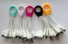 Data Sync Cable for iPhone 4s 5 5C 5S 6 6+ iPod iPad USB Charger Black Key Ring