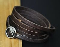 S71 Punk Cool Multi 5-Wraps Genuine Leather Bracelet Wristband Cuff COFFEE BROWN