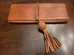 "Banana Republic~Leather Clutch-Purse-Handbag~zippered pocket, lined~11"" x 4.5"""