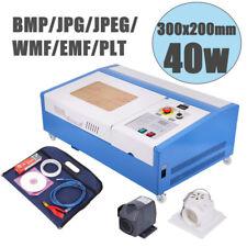 40W CO2 Laser Engraving Cutting Machine 300x200mm Engraver Cutter USB w/ Wheel