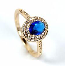 Para Mujer Chapado en Oro Anillo De Cristal Azul solitario con acentos de cristal claro