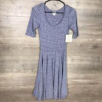 LuLaRoe Women's Size XXS Nicole Fit & Flare Dress Blue Short Sleeve NEW