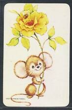 #915.112 Blank Back Swap Card -MINT- Mouse with big yellow rose