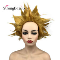 11/'/' Short Messy Spiky Butterscotch Blonde Synthetic Cosplay Wig NEW