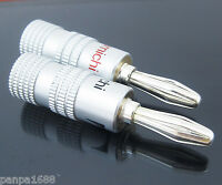 4x Nakamichi Silver Plated Speaker Cable Wire Banana Plug Screw Audio Connector