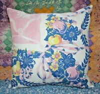 Large Throw Pillow Vintage Farmhouse Fruit Floral Mid Century Tablecloth Sham