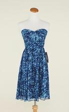 J.CREW $228 SILK CHIFFON MARBELLA WATERCOLOR DRESS 4 ROYAL SHADOW BLUE C9349