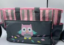 LARGE BABY BOOM DIAPER BAG PINK/GRAY/PURPLE OWL w/Zip-down CHANGING PAD FREESHIP