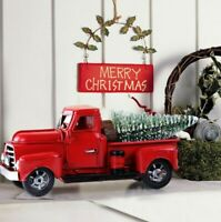 Vintage Metal Classic Rustic Pickup Truck Christmas Tree Home Office Decor Red