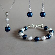 Dark Prussian blue pearl necklace bracelet earrings silver wedding jewellery set