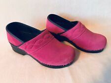 Slip On Lands End Clogs 6B Pink Mulberry Rose Black Suede Comfy Wedge Shoes