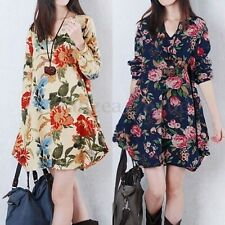 2017 Women Autumn Floral Print Long Sleeve V-Neck Loose Pregnant Mini Maxi Dress