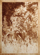 "Chad Neff ""Searching"" Signed & Numbered Art Etching, deer buck in forest, sepia"