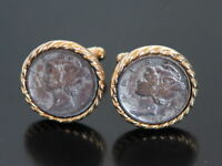 Vtg Mercury Winged Liberty Head Dime Cufflinks Gold Tone Old Coin Change Money