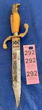 Vintage Toledo Carved Painted Dagger Knife with Eagle & Lion Heads Handle