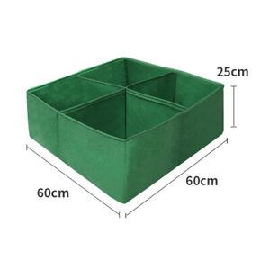 Square Fabric Grow Bag 4 Divided Grid Garden Flowers Plant Vegetable Planter Pot