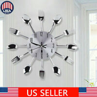 """12.4"""" Stainless steel knife and fork spoon kitchen restaurant wall clock Home 3D"""