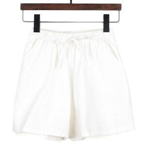 Women's Plain Elastic Waist Stripe Summer Loose Shorts Sport Casual Short Pants