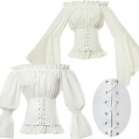 Renaissance Retro Victorian Blouse Tops White Shirt Medieval Gothic Lolita Shirt