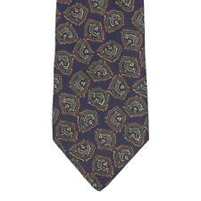 FENDI Designer Medallion Paisley Dark Blue Green Ochre Silk Neck Tie