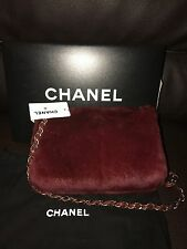 RARE CHANEL Limited Edition Rabbit Fur Leather Classic Chain Shoulder Bag Purse