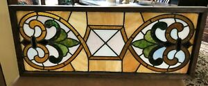 "32"" Antique stained glass art deco framed window transom university of Iowa"
