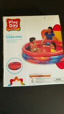 """Kiddie Swimming Pool Play Day 3-Ring Inflatable Round 64"""" Dia x 16"""" Deep Red"""