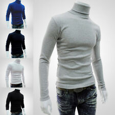 Men's Knitted Polo Roll Turtle Neck Pullover Sweater Jumper Tops Casual Shirt BG
