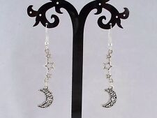 Tibetan Silver Moon & Stars,925 Sterling Silver Hook Earrings.Handmade