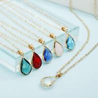 925 Sterling Silver Teardrop Crystal Stone Pendant Chain Necklace Women Jewelry