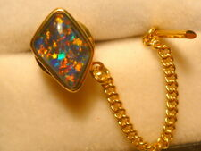 14ct Yellow Gold Mens Tie Tack Free Form Triplet Opal item 120481