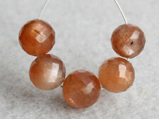 7.5-8mm Natural Peach Moonstone Faceted Round Ball Gemstone Beads