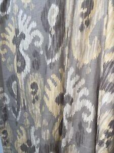 Pair Custom Calico Corners P.Kaufmann JOURNEY Ikat Kilim PUTTY Curtains Drapes