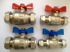 FULL BORE HEAVY DUTY BUTTERFLY LEVER BALL VALVES BLUE OR RED HANDLE 15 22 & 28MM