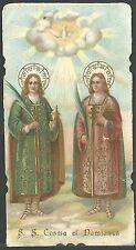Estampa antigua de San Cosme y San Damian andachtsbild santino hoy card santini