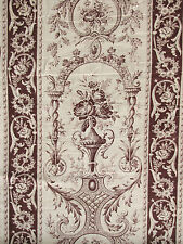 French Fabric Toile 19th century white ground sienna purple printed floral